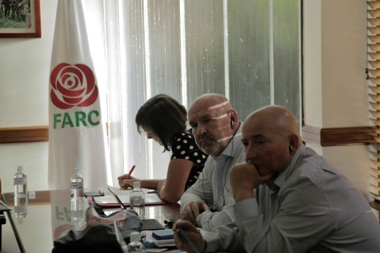 Jo Stevens MP, Mick Whelan - General Secretary of ASLEF, and Paul Glover - UNISON Executive Committee member during meeting with the President of the FARC political party, Rodrigo Londoño