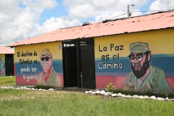 "Murals in the FARC reincorporation zone in Arauca. ""Colombia's destiny must not be war"" ""The correct path is one of peace"""