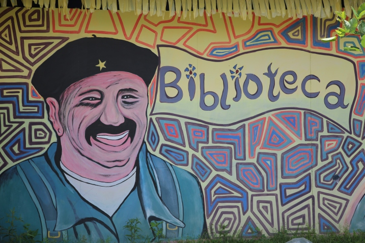 The library with a mural of former FARC Commander Mono Jojoy at the FARC reincorporation zone in Arauca