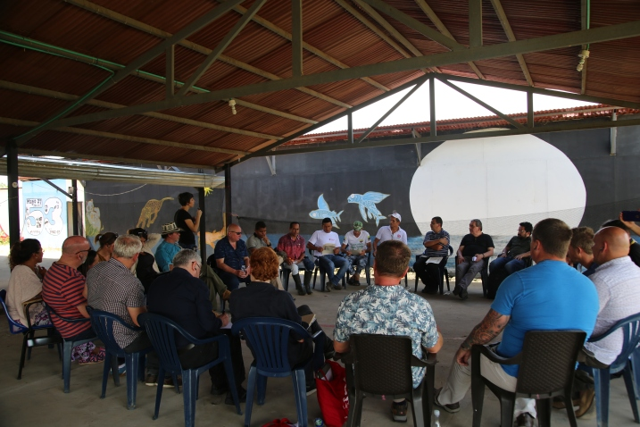 The coordinators of the FARC reincorporation zone give a welcome to the delegation