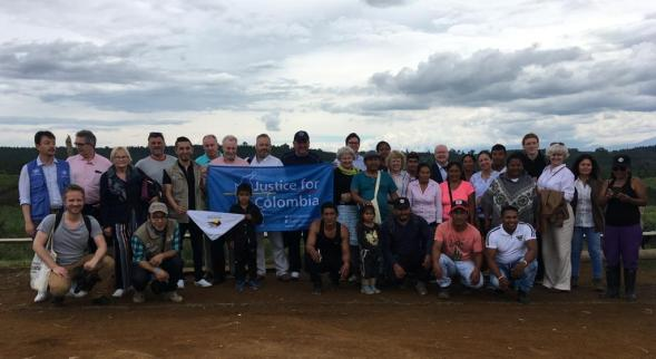 The delegation visited the village of Cajibio in Cauca