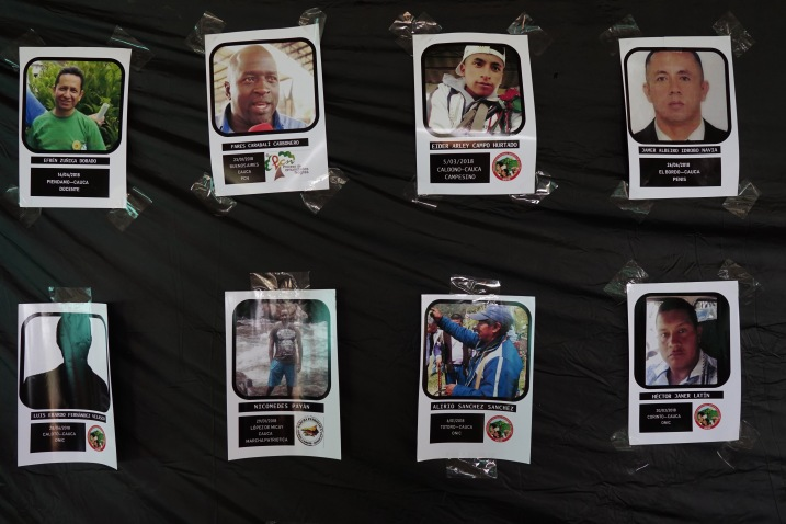 Pictures of social leaders killed in Cauca in recent years